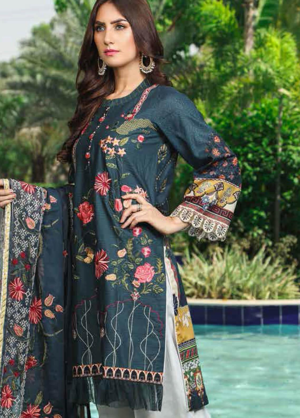 Peridot Embroidered Lawn Unstitched 3 Piece Suit PD19F 4A - Festive Collection