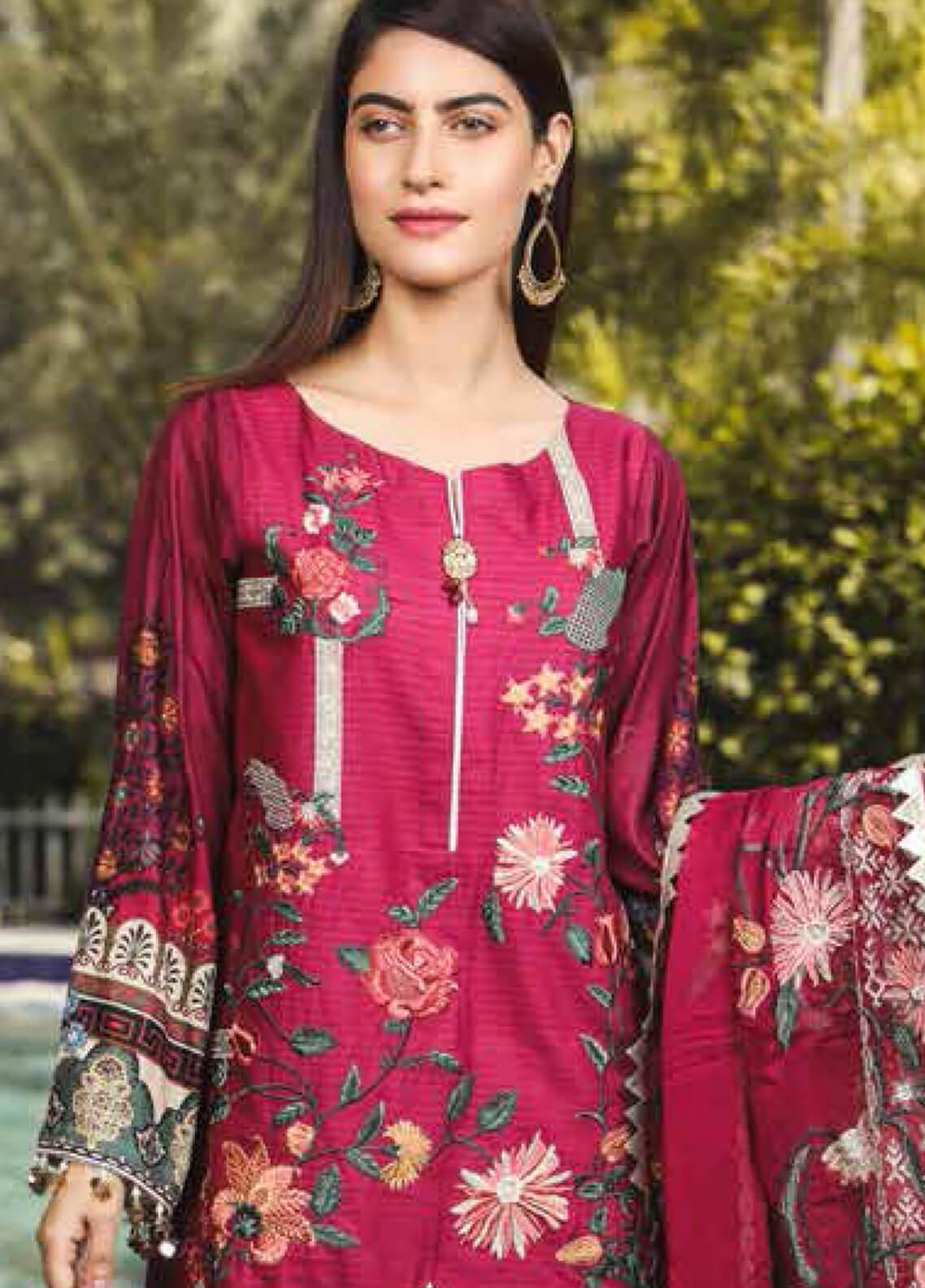 Peridot Embroidered Lawn Unstitched 3 Piece Suit PD19F 4B - Festive Collection