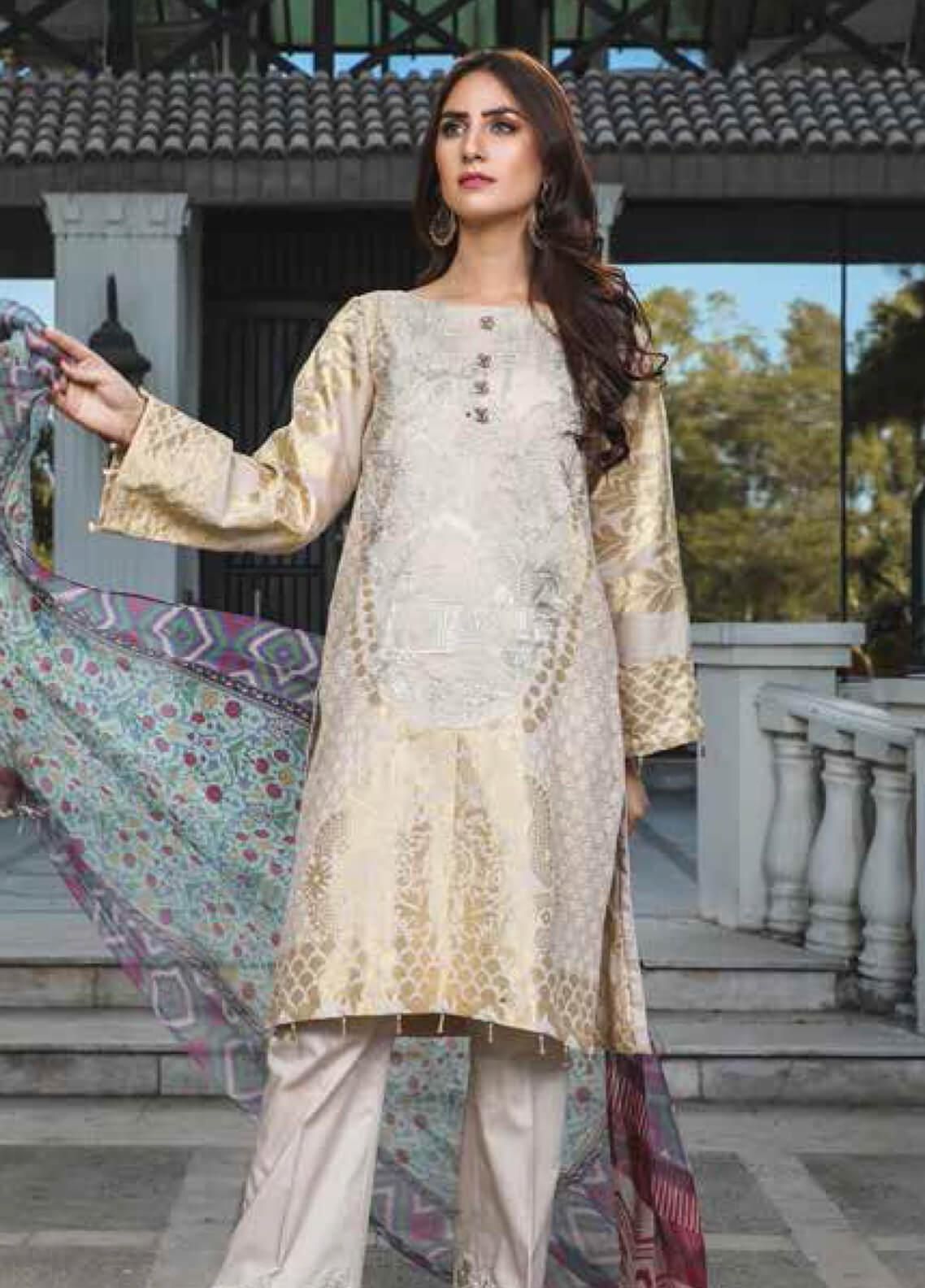 Peridot Embroidered Lawn Unstitched 3 Piece Suit PD19F 5A - Festive Collection