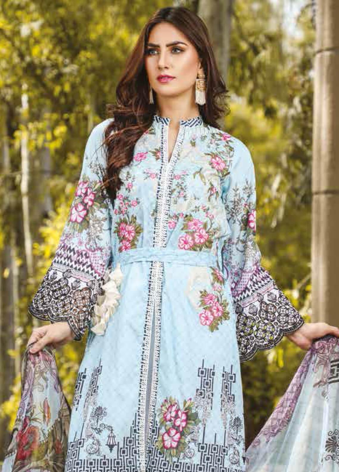 Peridot Embroidered Lawn Unstitched 3 Piece Suit PD19F 7A - Festive Collection