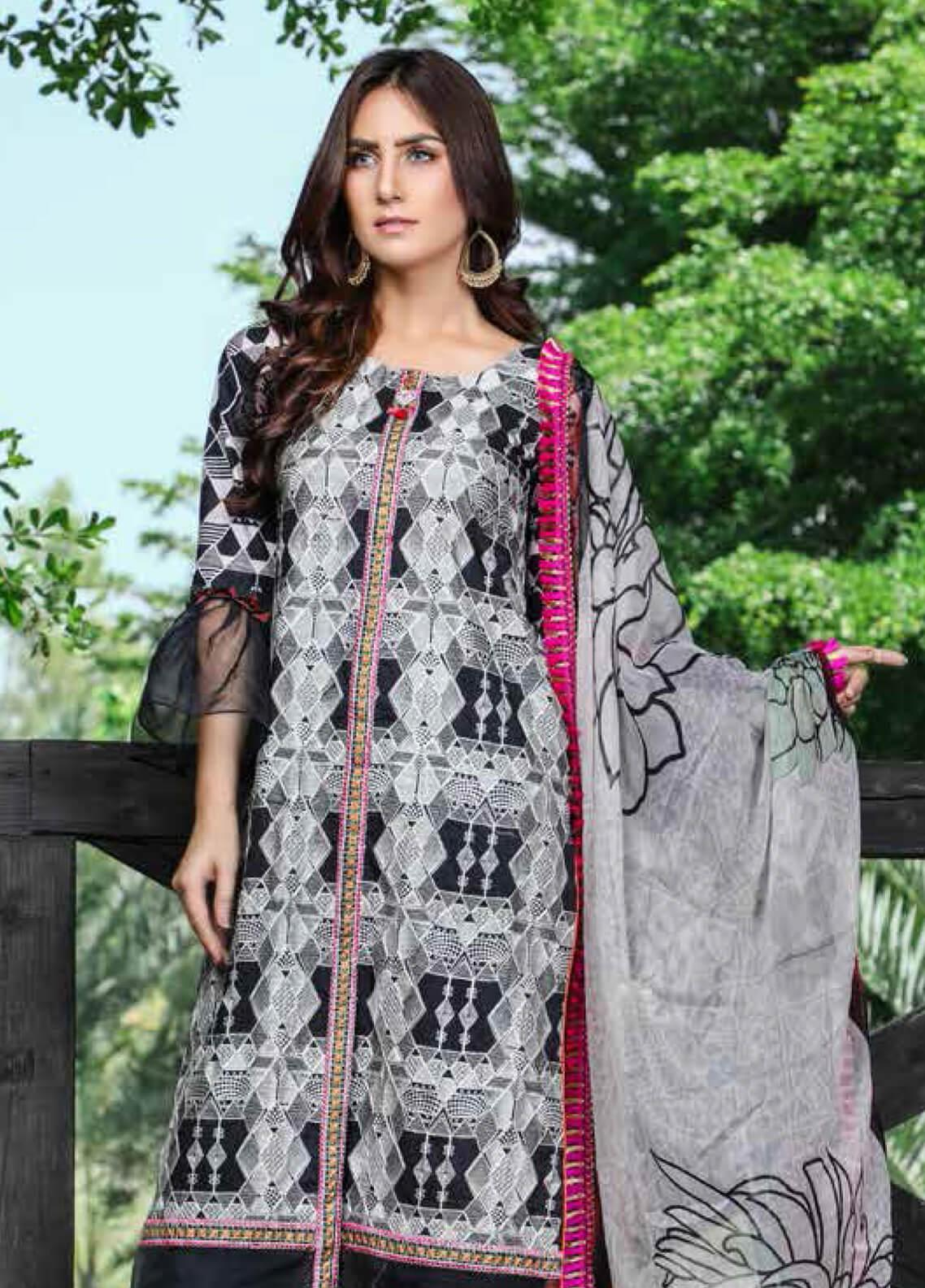 Peridot Embroidered Lawn Unstitched 3 Piece Suit PD19F 8A - Festive Collection