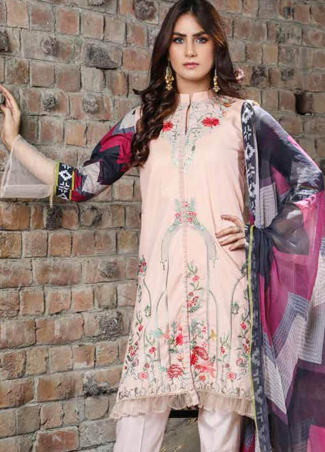 Peridot Embroidered Lawn Unstitched 3 Piece Suit PD19F 9A - Festive Collection