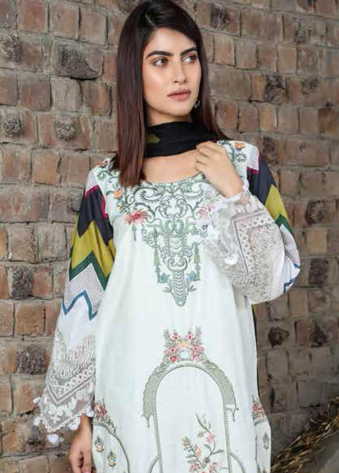 Peridot Embroidered Lawn Unstitched 3 Piece Suit PD19F 9B - Festive Collection