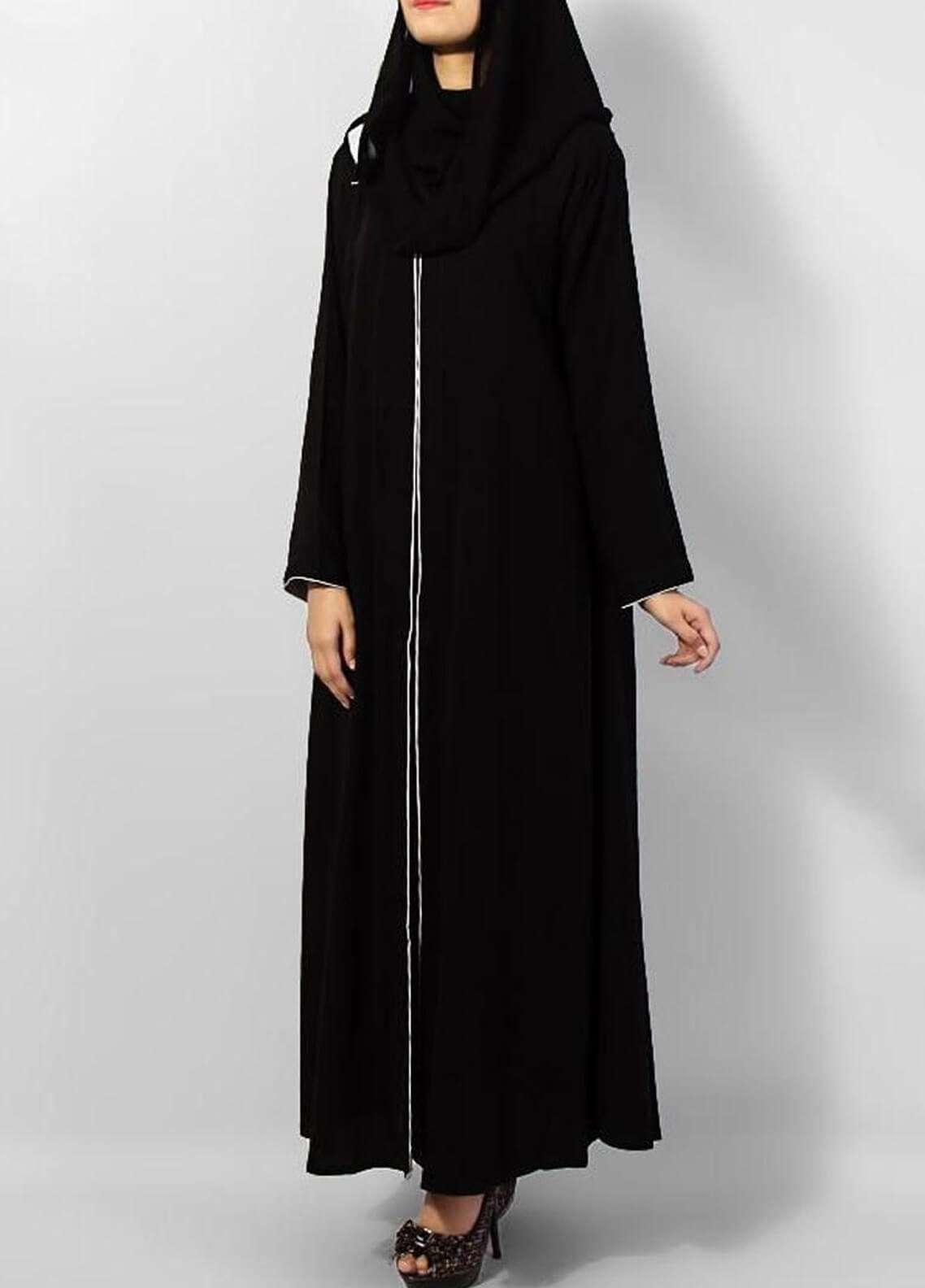 Hijab ul Hareem  Abayas Pipin Style Black Abaya 0116-R