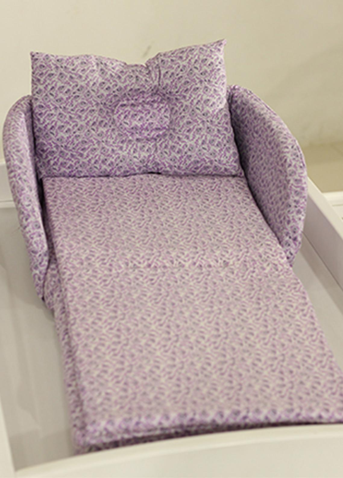 Plush Mink  Cotton Folding Bed 3 Pieces Plush Mink Baby Folding Bed 02 Purple Shade - Baby Products