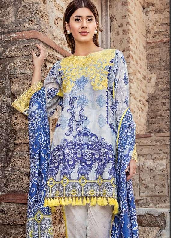 Zehra Saleem Embroidered Lawn Unstitched 3 Piece Suit PN18L 01 - Spring / Summer Collection