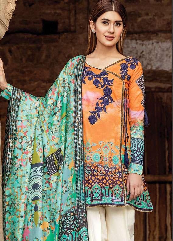 Zehra Saleem Embroidered Lawn Unstitched 3 Piece Suit PN18L 05 - Spring / Summer Collection