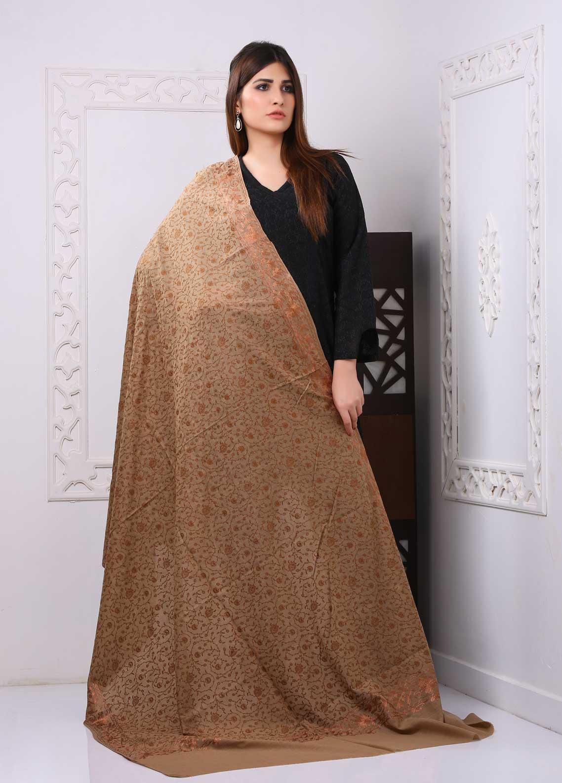 Sanaulla Exclusive Range Embroidered Premium Pashmina  Shawl PRMSH 323929 - Premium Pashmina Shawls