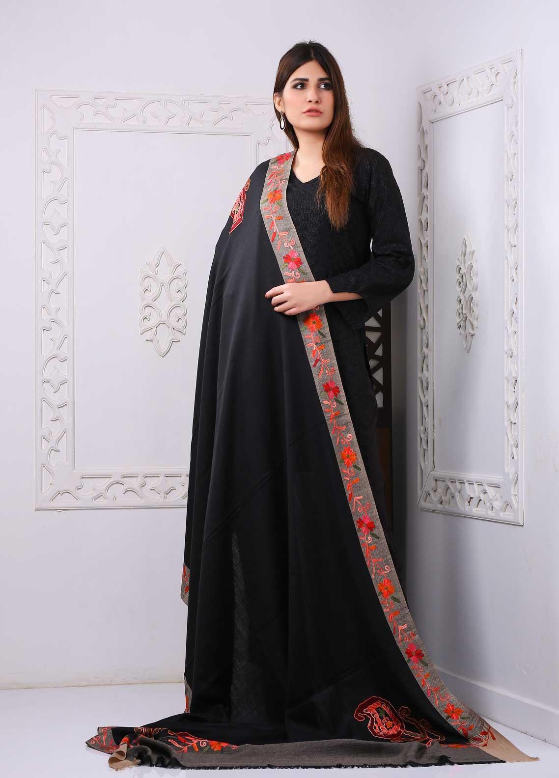 Sanaulla Exclusive Range Embroidered Premium Pashmina  Shawl PRMSH 323936 - Premium Pashmina Shawls