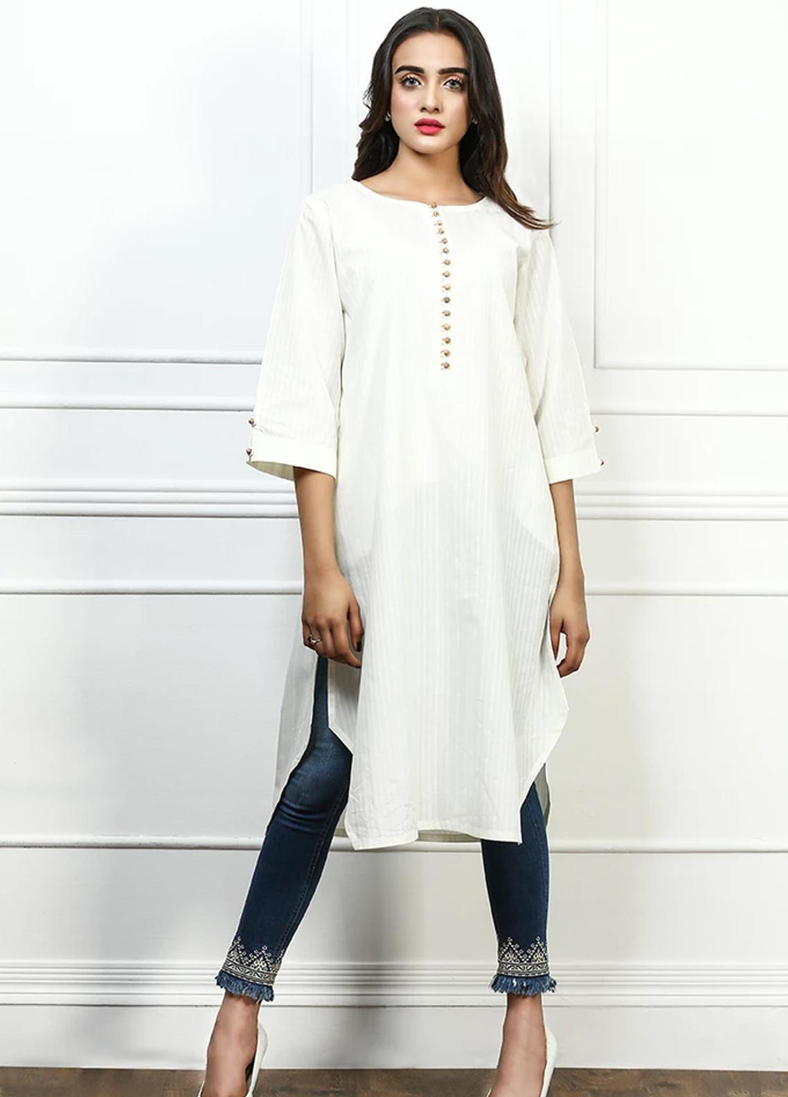 Pulsar Fancy Style Cotton Stitched Kurtis Bold White