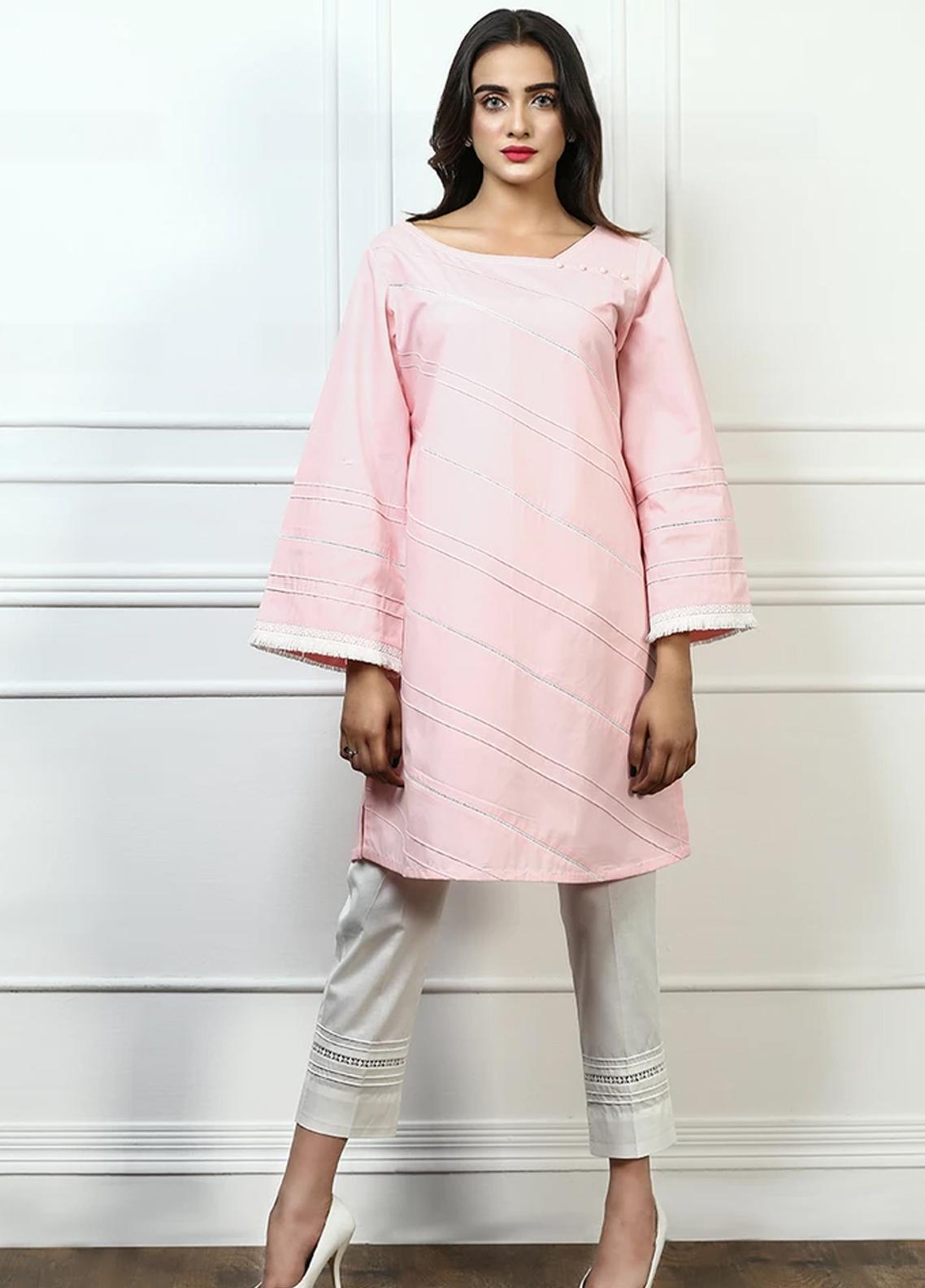 Pulsar Fancy Style Cotton Stitched Kurtis Pink Delicacy