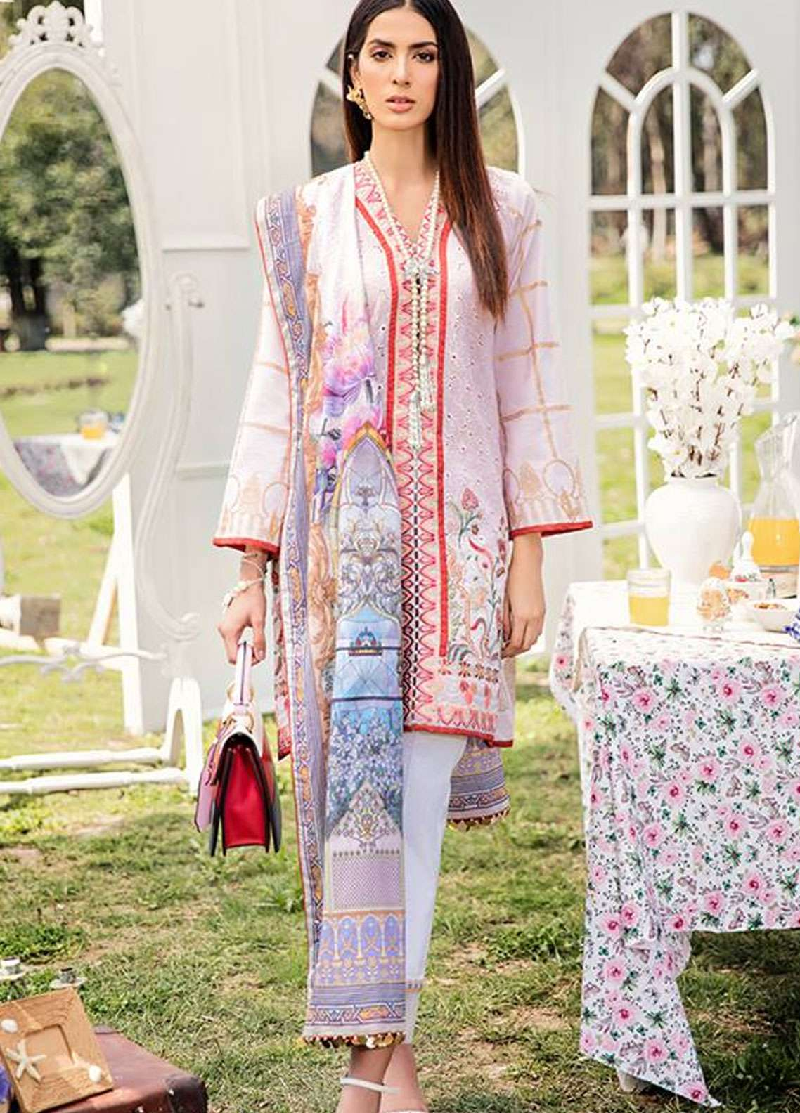Qalamkar Embroidered Schiffli Unstitched 3 Piece Suit QLM19L 1A - Spring / Summer Collection