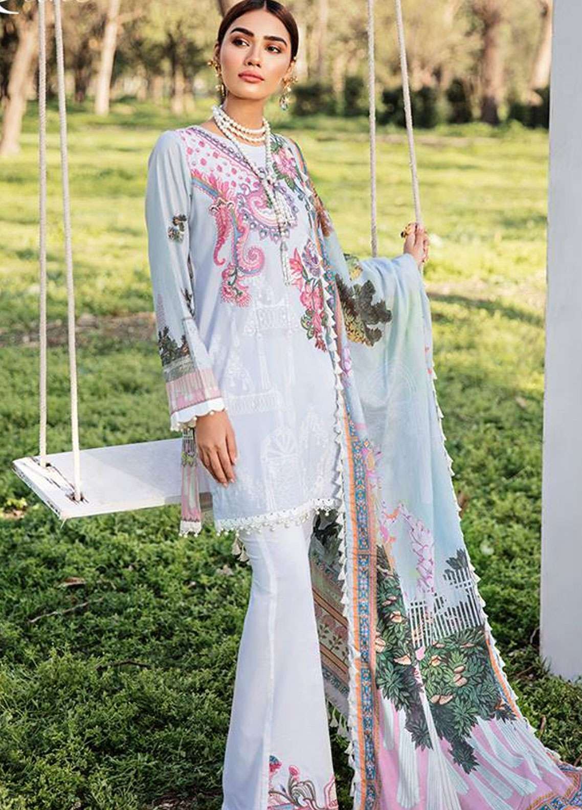 Qalamkar Embroidered Lawn Unstitched 3 Piece Suit QLM19L 3A - Spring / Summer Collection