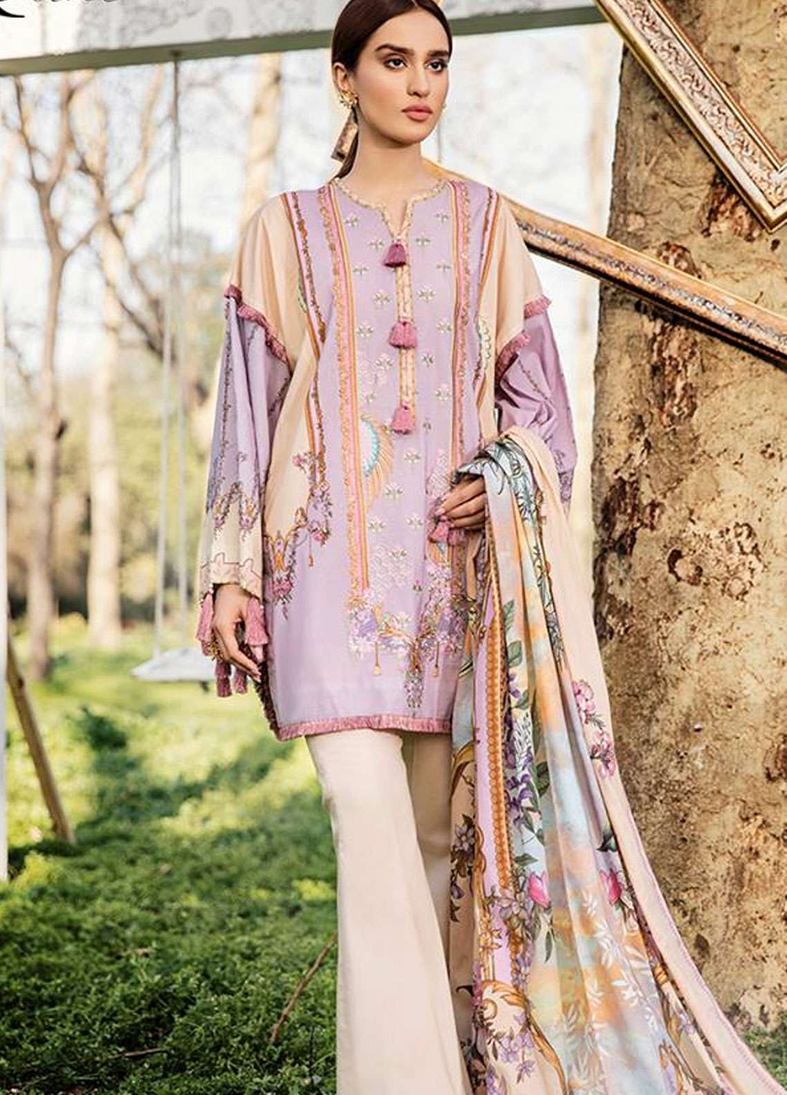 Qalamkar Embroidered Lawn Unstitched 3 Piece Suit QLM19L 5B - Spring / Summer Collection