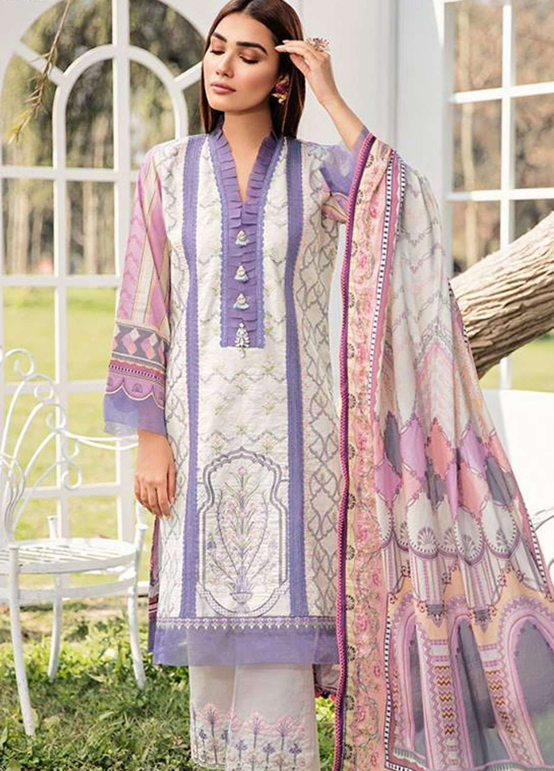 Qalamkar Embroidered Lawn Unstitched 3 Piece Suit QLM19L 6B - Spring / Summer Collection