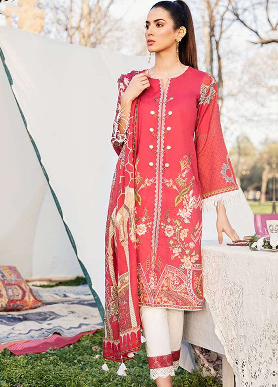 Qalamkar Embroidered Lawn Unstitched 3 Piece Suit QLM19L 7B - Spring / Summer Collection