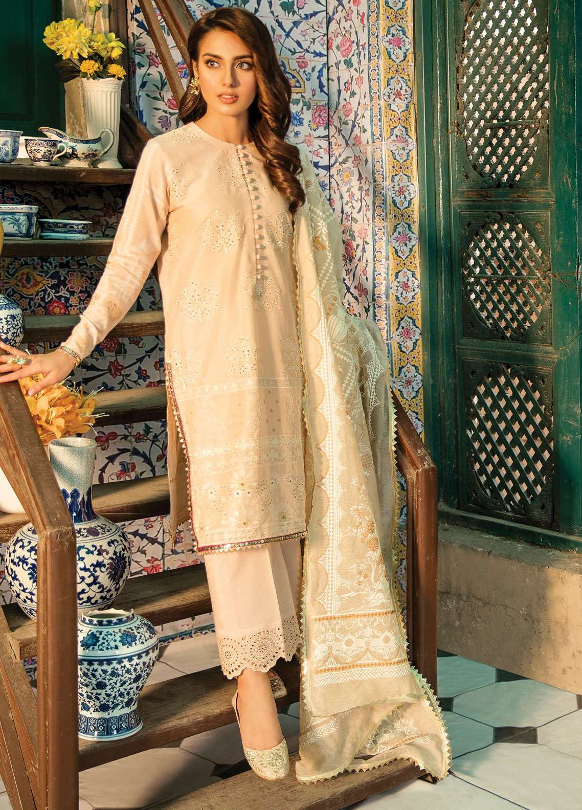 Qalamkar Embroidered Lawn Unstitched 3 Piece Suit QDH19LC 03 Avizeh - Luxury Lawn Collection