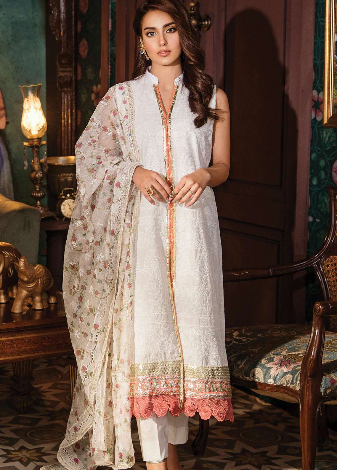 Qalamkar Embroidered Lawn Unstitched 3 Piece Suit QDH19LC 05 Deenah - Luxury Lawn Collection