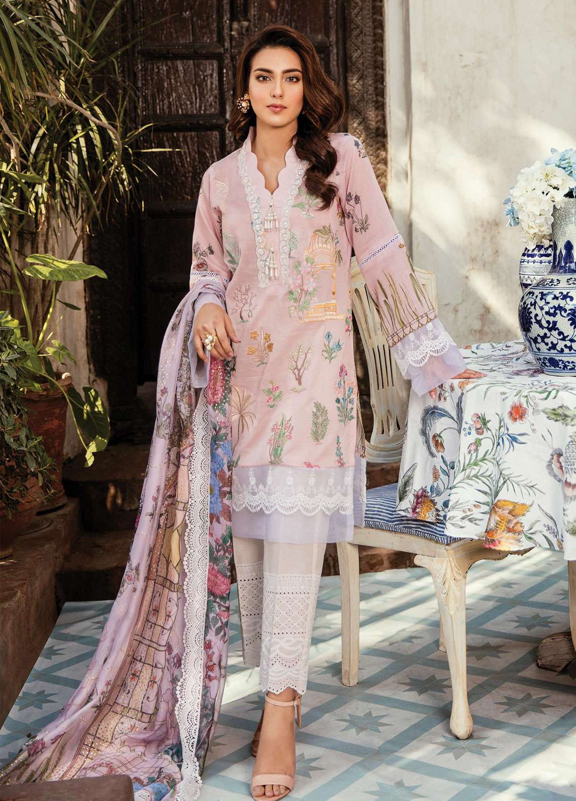 Qalamkar Embroidered Lawn Unstitched 3 Piece Suit QDH19LC 08 Orkideh - Luxury Lawn Collection