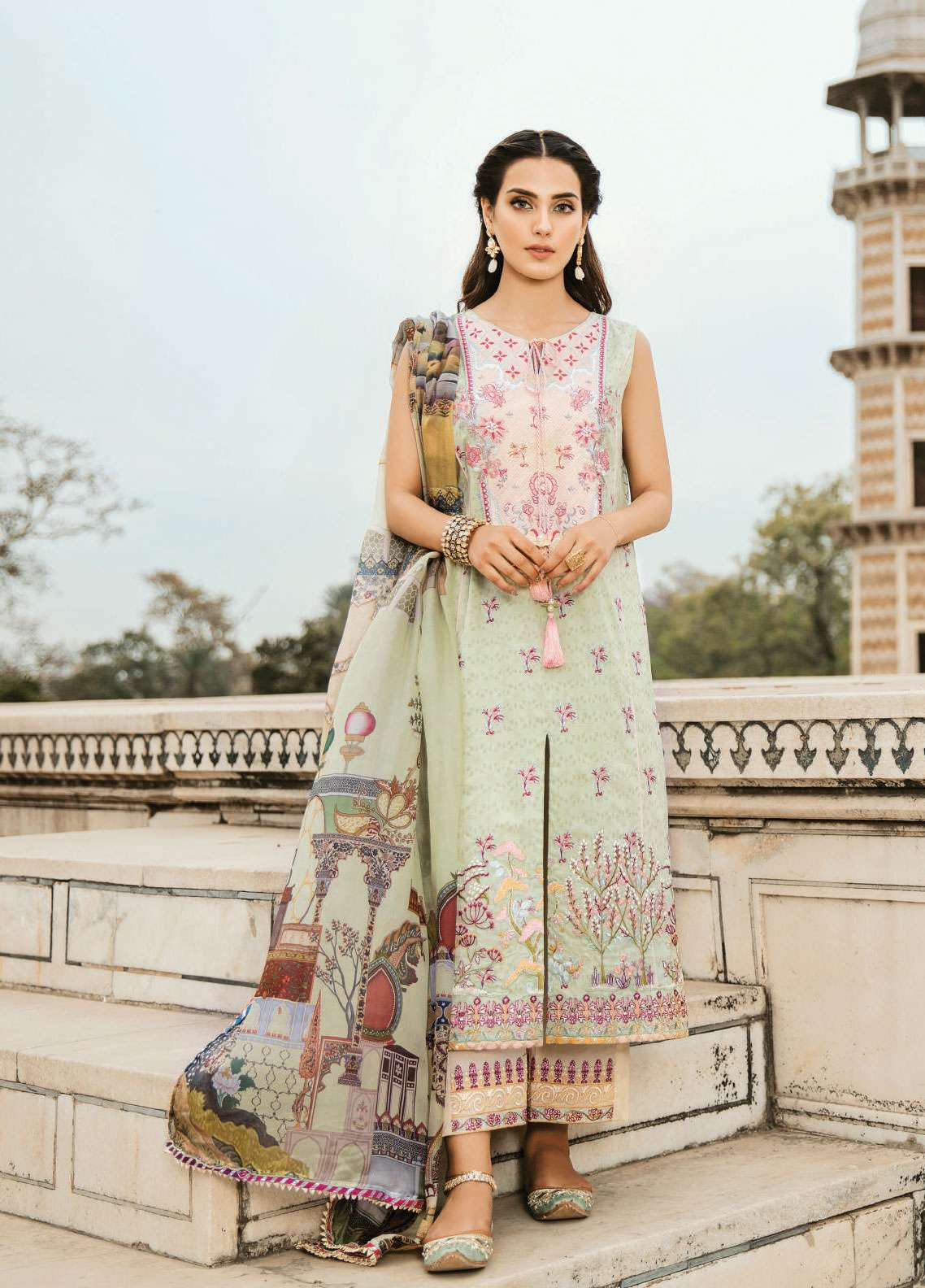 Qalamkar Embroidered Lawn Unstitched 3 Piece Suit QLM19F 02 DURRA - Festive Collection