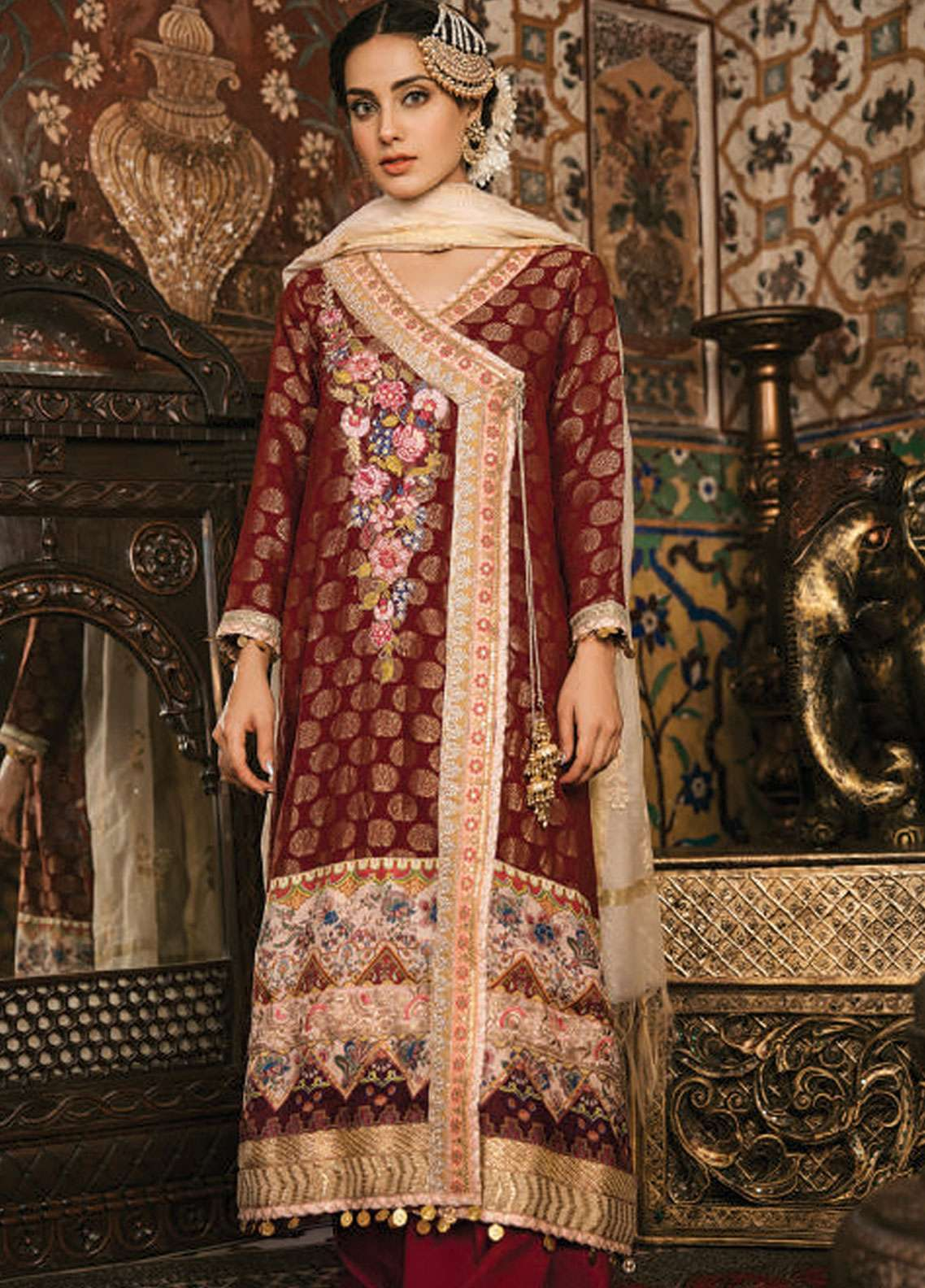 Qalamkar Embroidered Jacquard Unstitched 3 Piece Suit QLM19F 03 ANISHA - Festive Collection