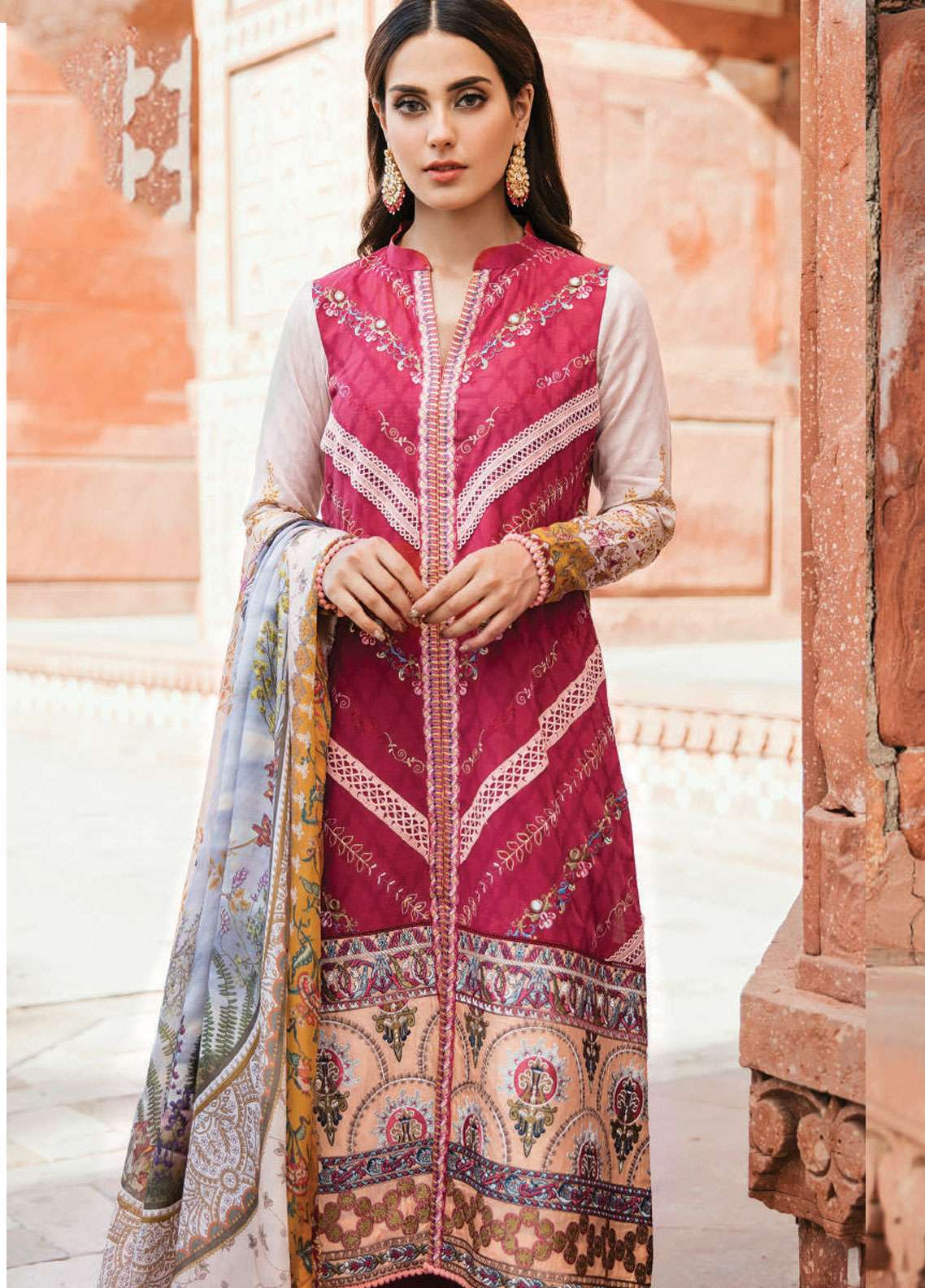 Qalamkar Embroidered Lawn Unstitched 3 Piece Suit QLM19F 05 ANISA - Festive Collection