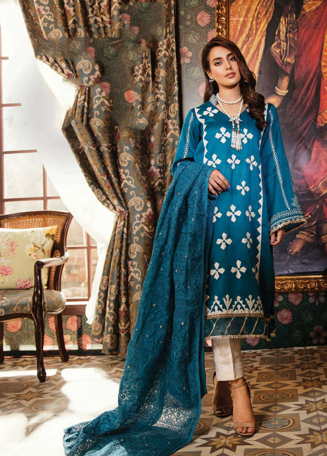 d683c92822 Qalamkar Embroidered Lawn Unstitched 3 Piece Suit QLM19F 13 ULFA - Festive  Collection