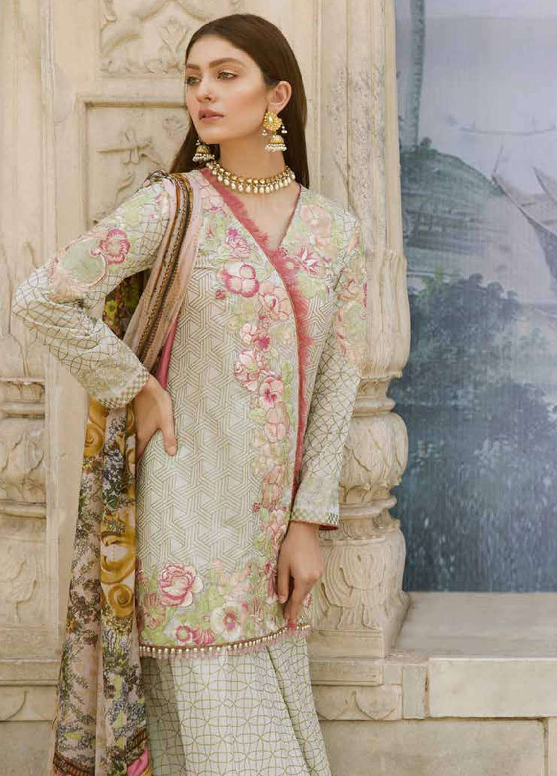Qalamkar Embroidered Lawn Unstitched 3 Piece Suit QLM18F 02 - Eid Collection