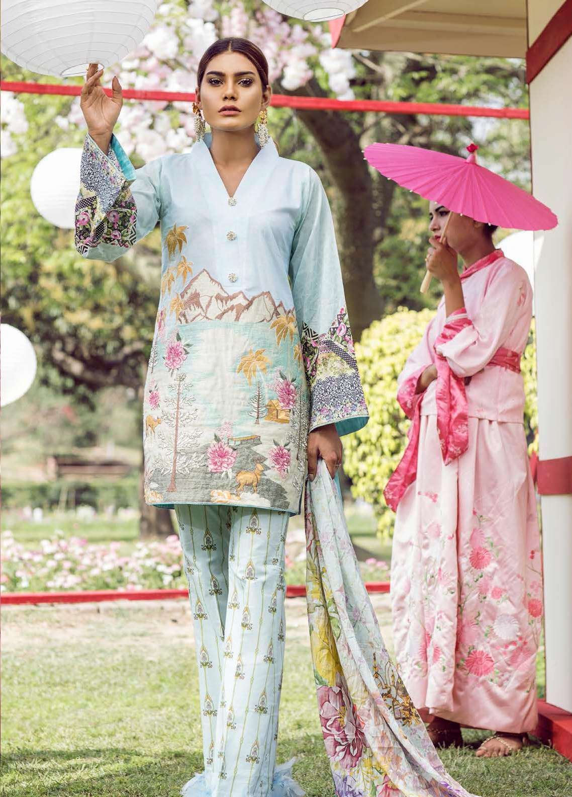 Qalamkar Embroidered Lawn Unstitched 3 Piece Suit QLM18L 10A - Spring / Summer Collection