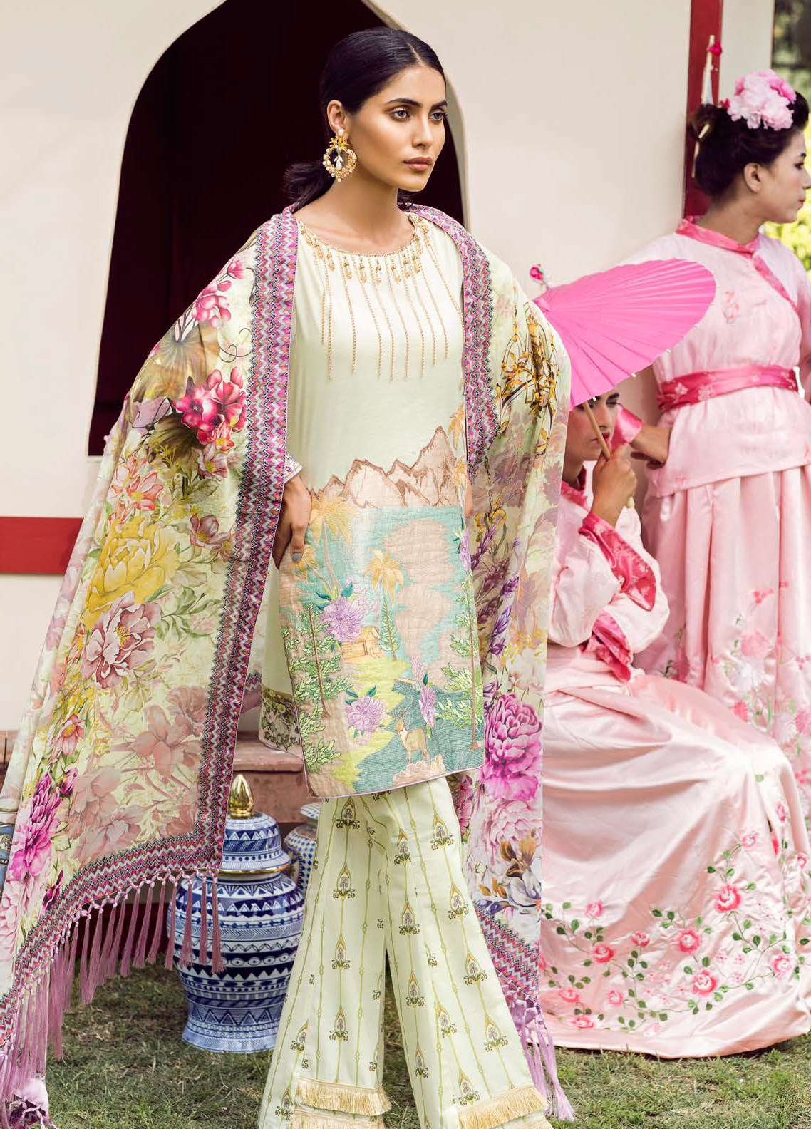 Qalamkar Embroidered Lawn Unstitched 3 Piece Suit QLM18L 10B - Spring / Summer Collection
