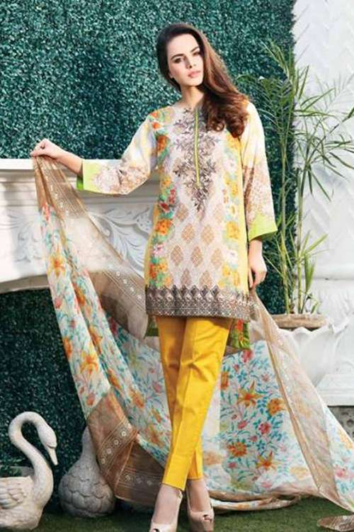 Riaz Arts Embroidered Swiss Voile Unstitched Suit 3 Piece Suit RA17V 12A
