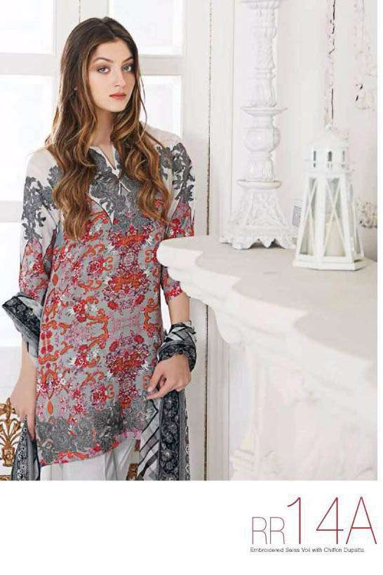 Riaz Arts Embroidered Swiss Voile Unstitched Suit 3 Piece Suit RA17V 14A