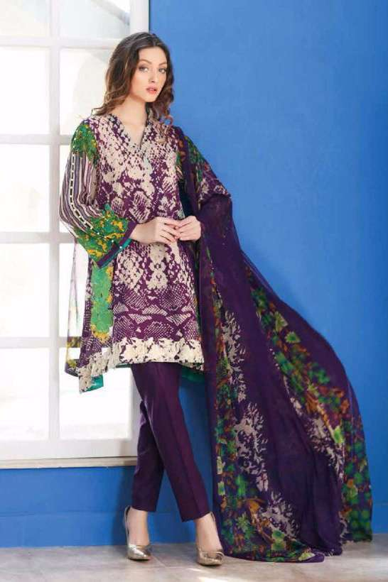 Riaz Arts Embroidered Swiss Voile Unstitched Suit 3 Piece Suit RA17V 15B