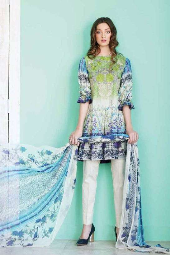 Riaz Arts Embroidered Swiss Voile Unstitched Suit 3 Piece Suit RA17V 18A