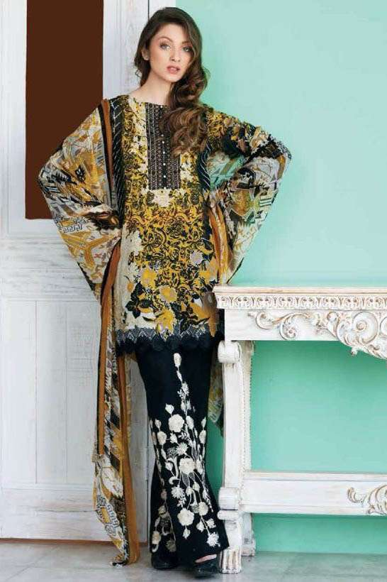 Riaz Arts Embroidered Swiss Voile Unstitched Suit 3 Piece Suit RA17V 20