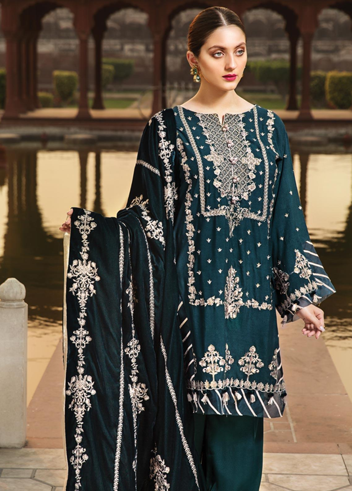 Raaya by Rang Rasiya Embroidered Cottel Linen Unstitched 3 Piece Suit RY19W 6 - Winter Collection