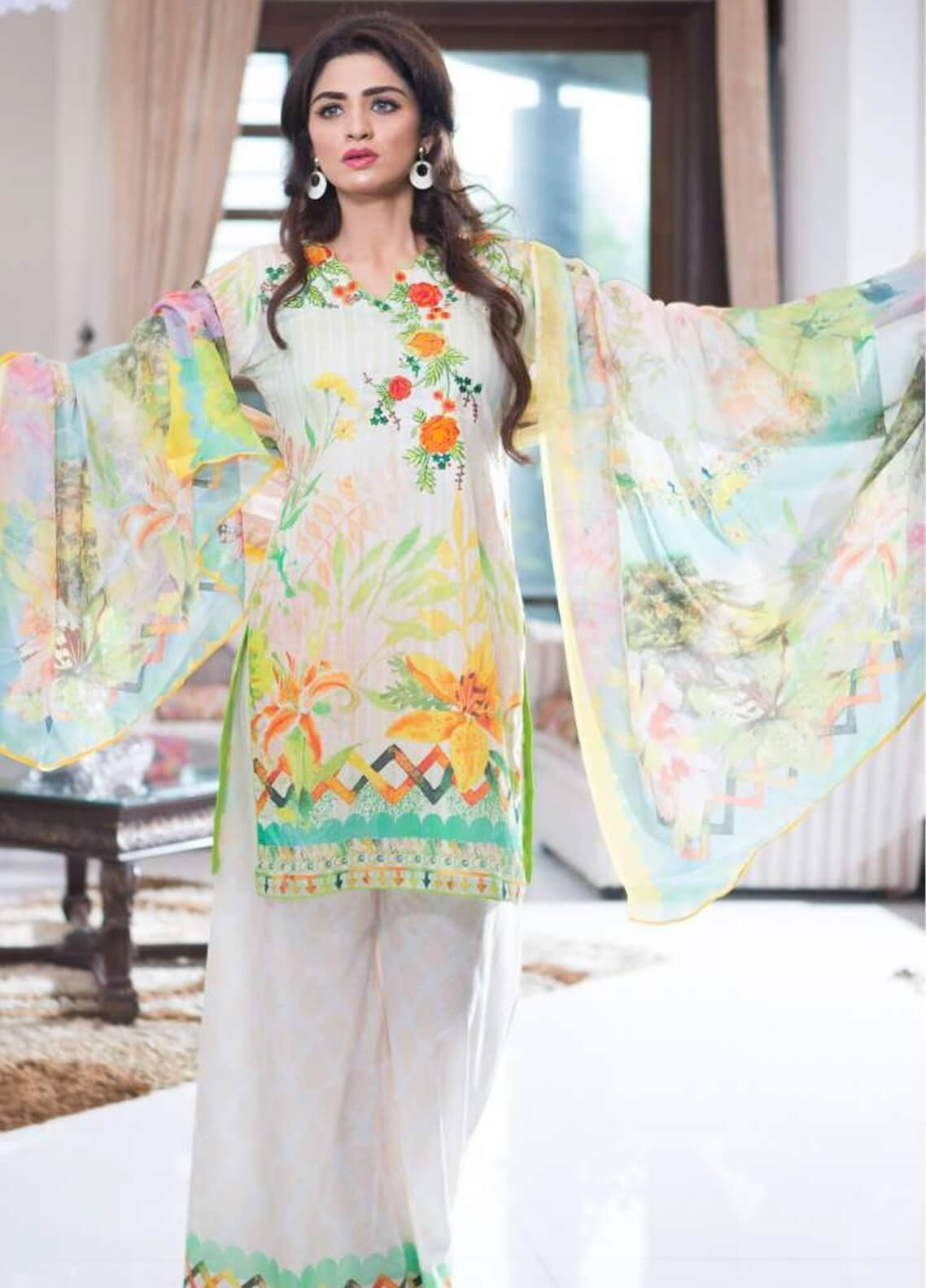 Rabea By Shariq Textiles Embroidered Lawn Unstitched 3 Piece Suit RBA19L 07 - Spring / Summer Collection