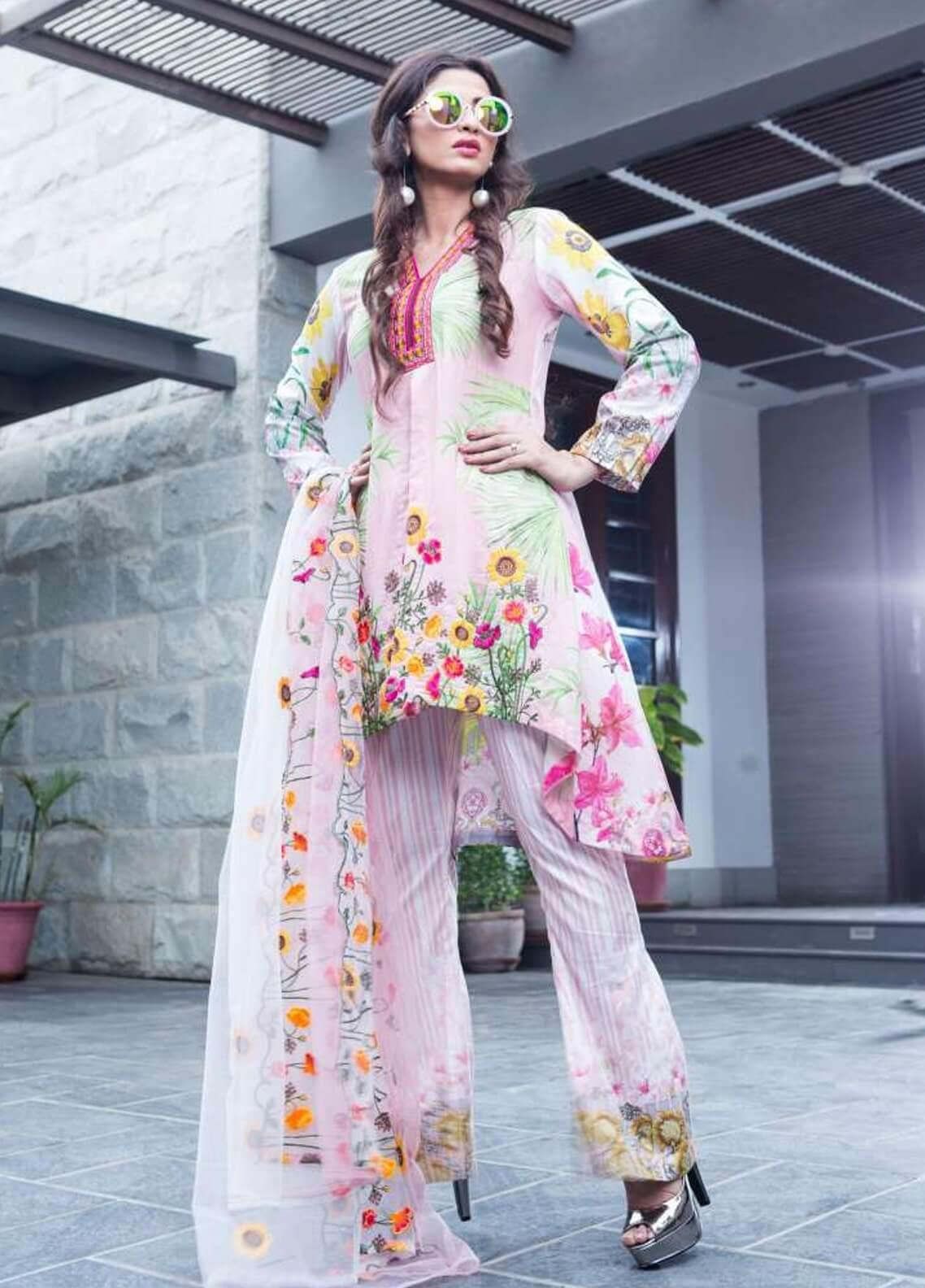 Rabea By Shariq Textiles Embroidered Lawn Unstitched 3 Piece Suit RBA19L 09 - Spring / Summer Collection