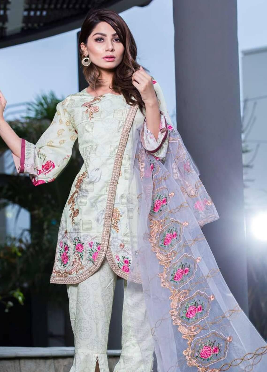 Rabea By Shariq Textiles Embroidered Lawn Unstitched 3 Piece Suit RBA19L 12 - Spring / Summer Collection