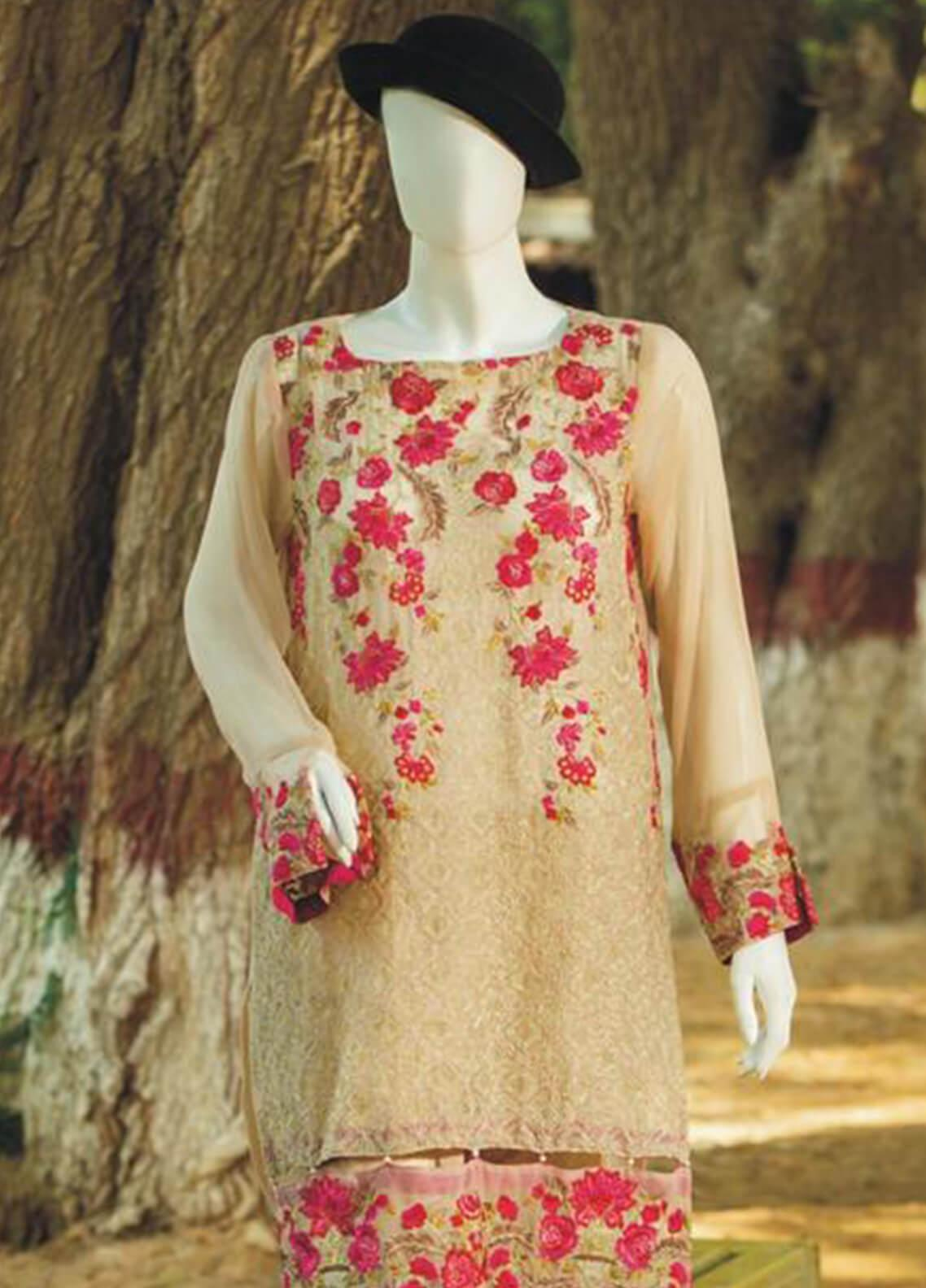 1c49fc24ac06 Rabia's Textiles Embroidered Chiffon Unstitched Kurties RBA19C 04 - Luxury  Collection
