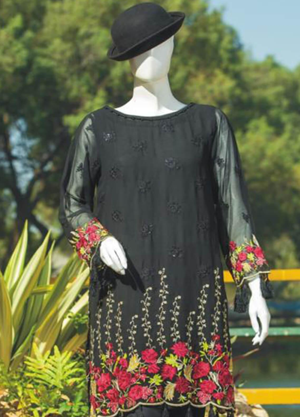 Rabia's Textiles Embroidered Chiffon Unstitched Kurties RBA19C 05 - Luxury Collection