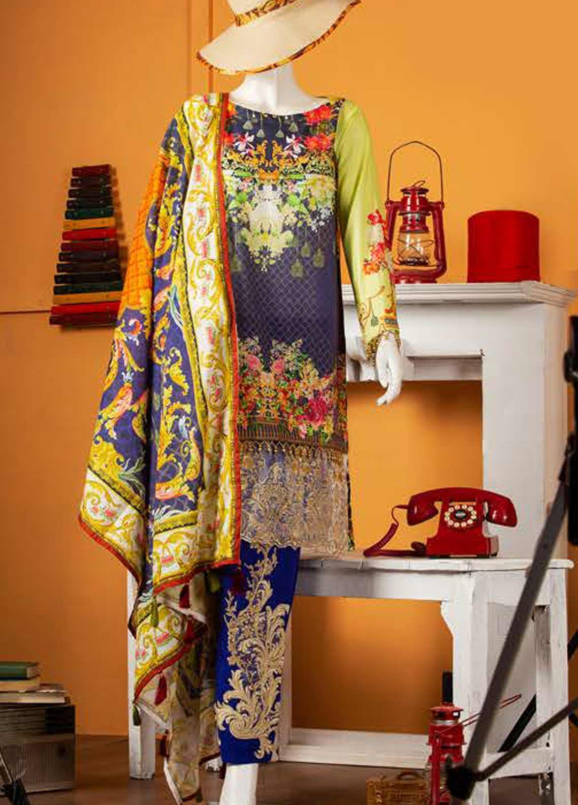 Rabia's Textiles Embroidered Lawn Unstitched 3 Piece Suit RBA19S 01 FLORAL FEST - Spring / Summer Collection