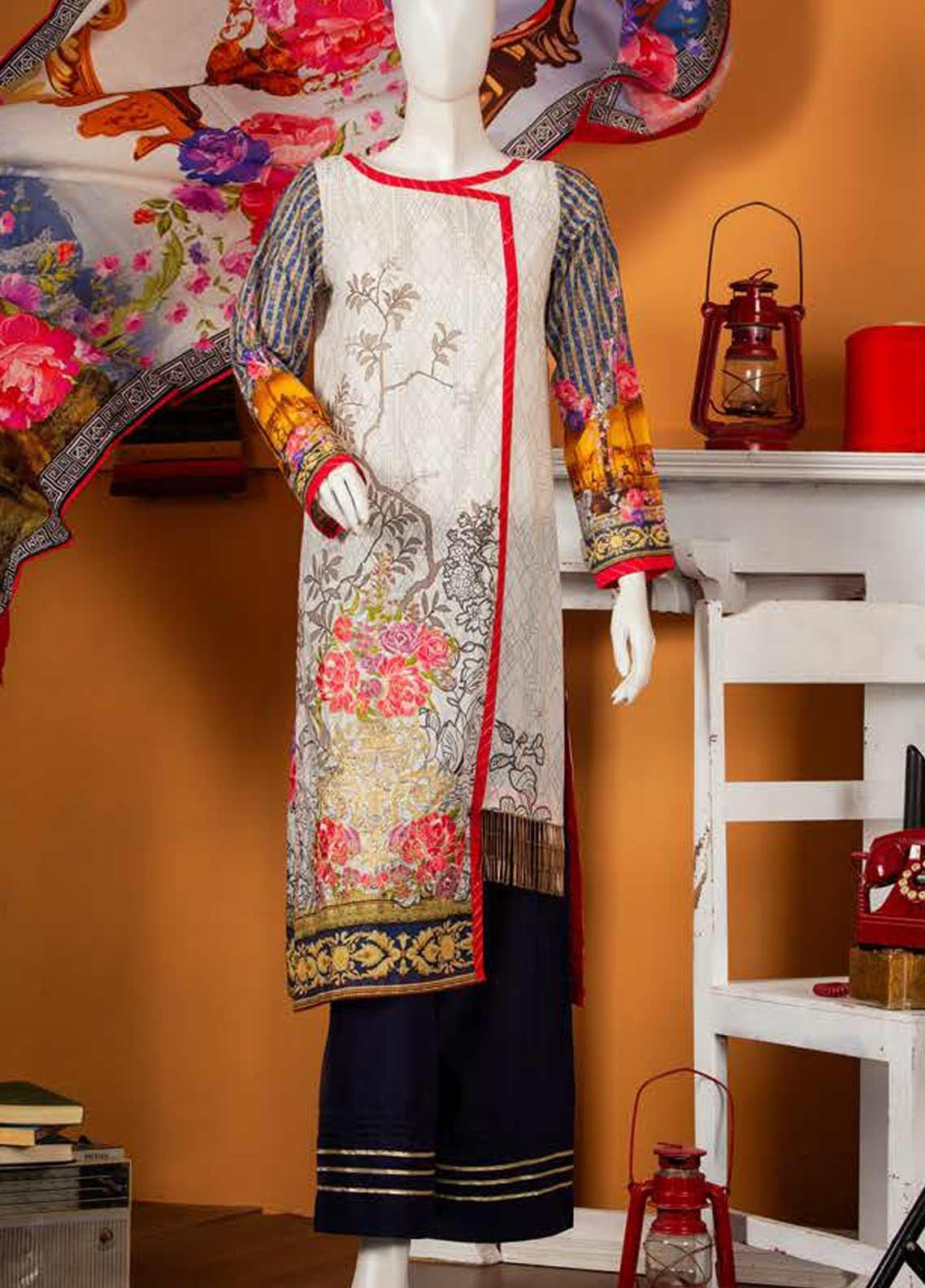 Rabia's Textiles Embroidered Lawn Unstitched 3 Piece Suit RBA19S 04 INFINITY ROSES - Spring / Summer Collection