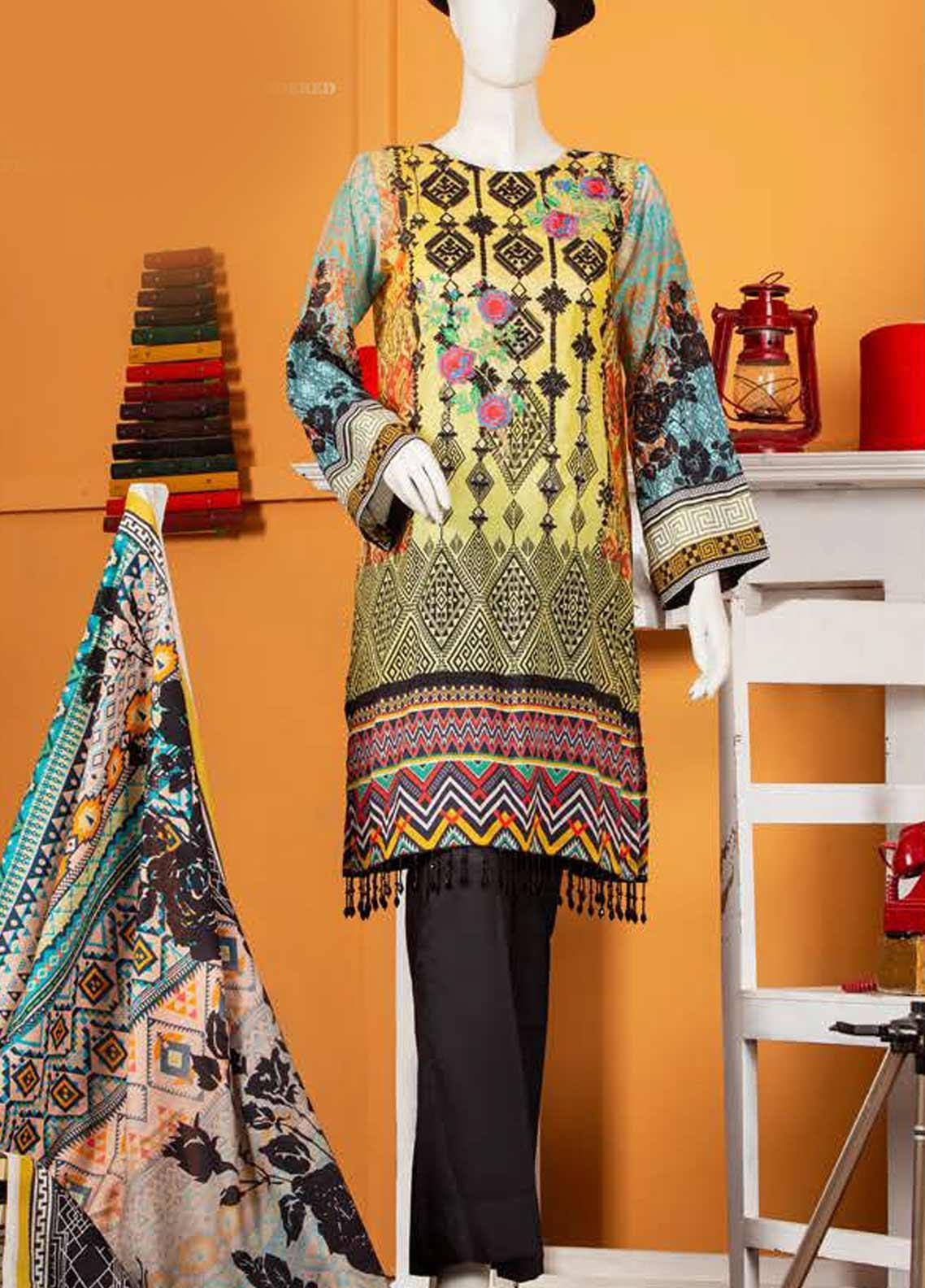 Rabia's Textiles Embroidered Lawn Unstitched 3 Piece Suit RBA19S 05 FLORAL TOUCH - Spring / Summer Collection