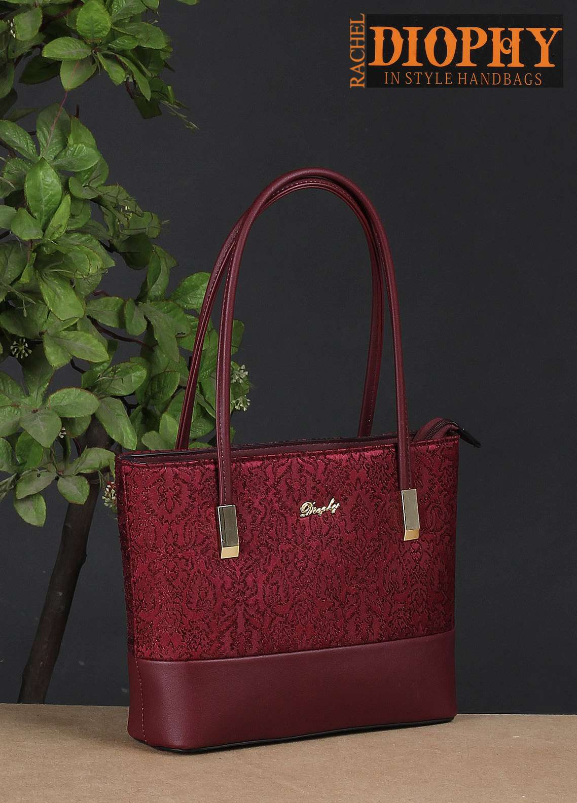 Rachel Diophy PU Leather Tote Handbags for Women - Maroon with Embroidered Textured