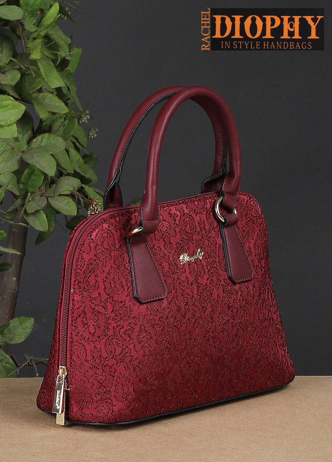Rachel Diophy PU Leather Satchels Handbags for Women - Maroon with Embroidered Textured