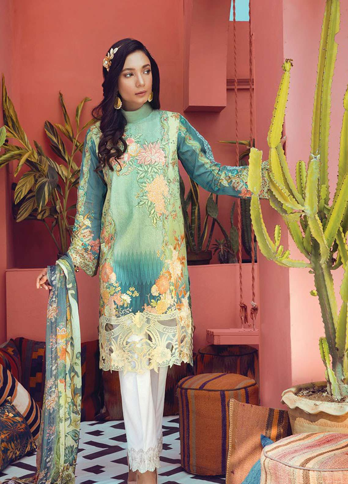 RajBari Embroidered Cotton Unstitched 3 Piece Suit RB19L 10A - Spring / Summer Collection