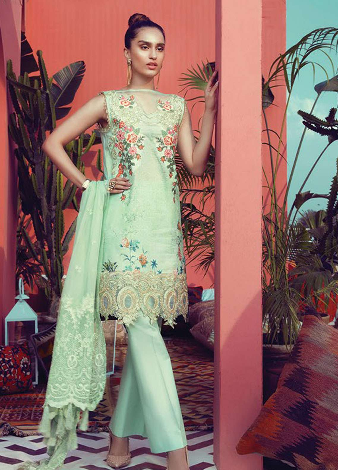 RajBari Embroidered Lawn Unstitched 3 Piece Suit RB19L 2B - Spring / Summer Collection