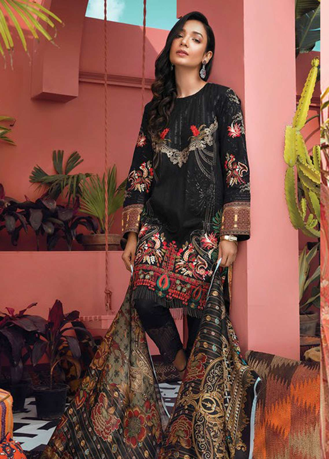 RajBari Embroidered Jacquard Unstitched 3 Piece Suit RB19L 4B - Spring / Summer Collection