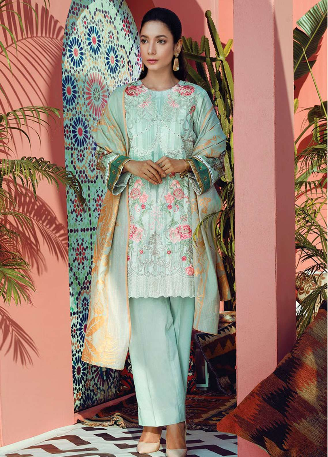 RajBari Embroidered Jacquard Unstitched 3 Piece Suit RB19L 5B - Spring / Summer Collection